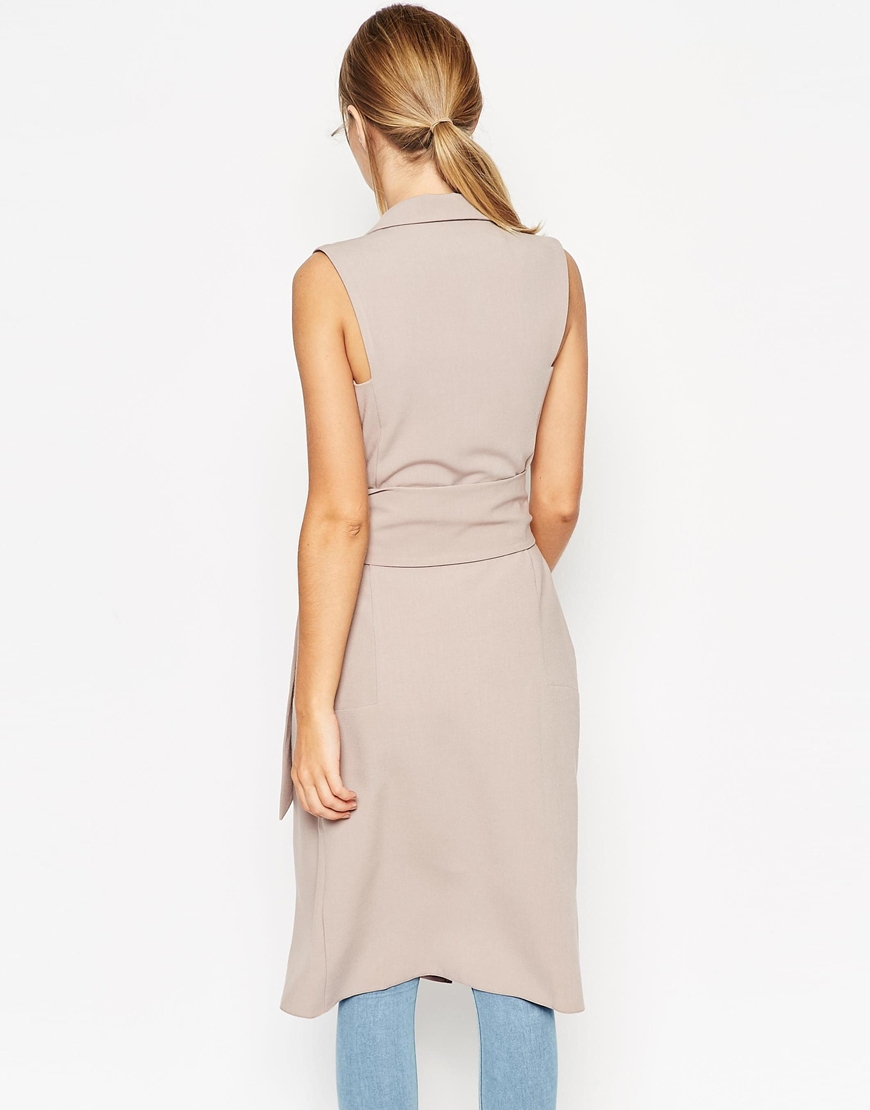 Asos Sleeveless Shirt Dress With Belted Wrap Front in ...