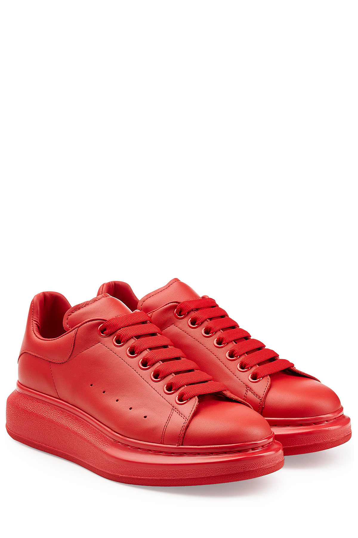 alexander mcqueen leather sneakers red in red for men lyst. Black Bedroom Furniture Sets. Home Design Ideas