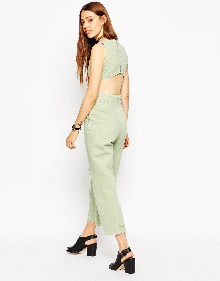 3c010eacfb4 Lyst - ASOS Denim Wide Leg Cut Out Jumpsuit In Mint With Rips in Green