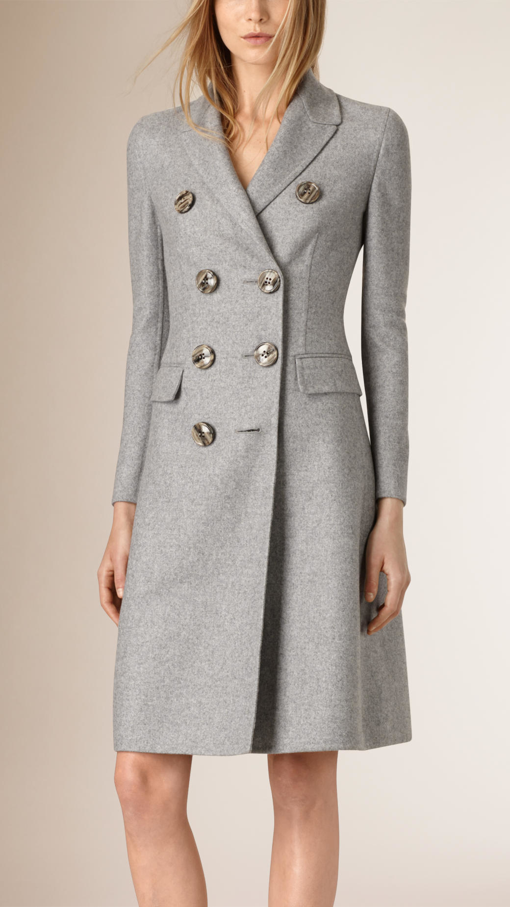Burberry Tailored Double Breasted Cashmere Coat In Gray Lyst