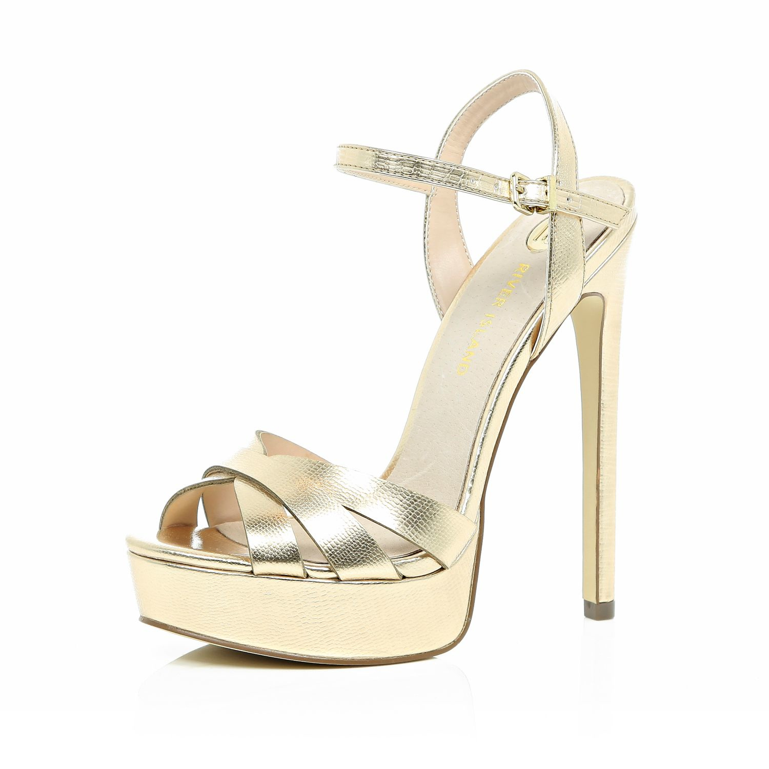 Platform Gold Heels - Is Heel
