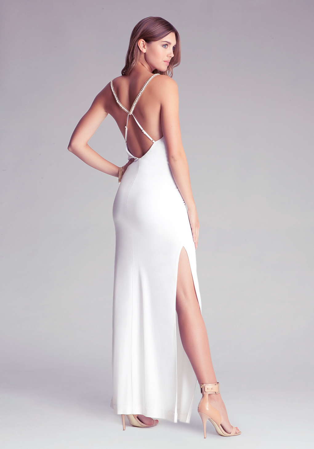 Lyst - Bebe Long Cowl Neck Dress in White