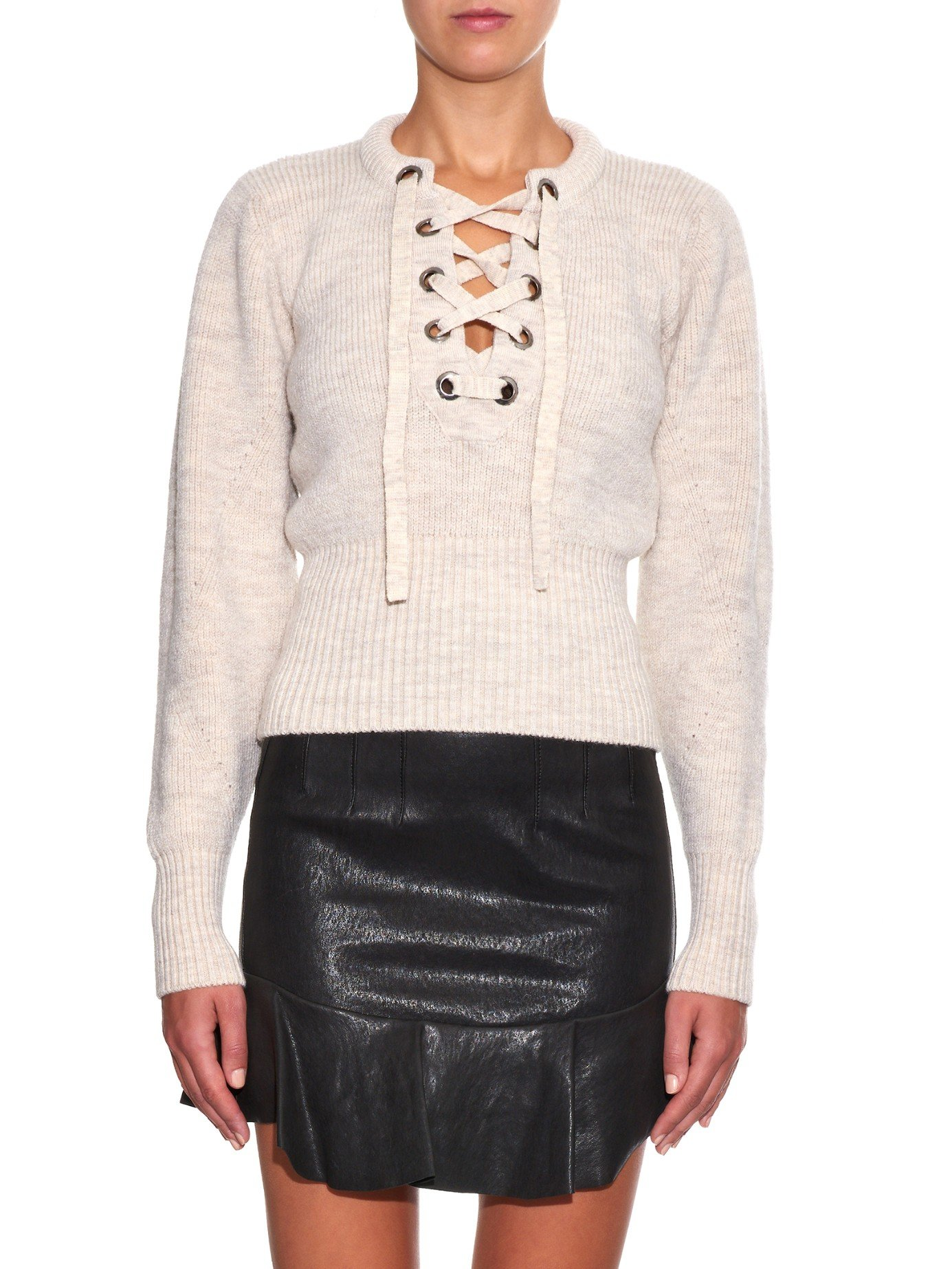 ebfb095475 Lyst - Isabel Marant Charley Lace-up Wool-blend Sweater in White
