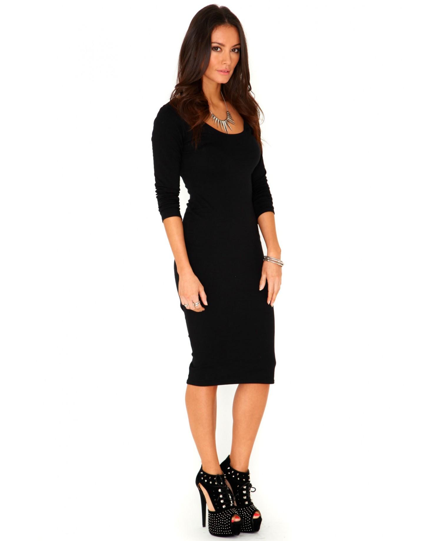 Missguided Elvira Scoop Neck Long Sleeve Midi Dress In