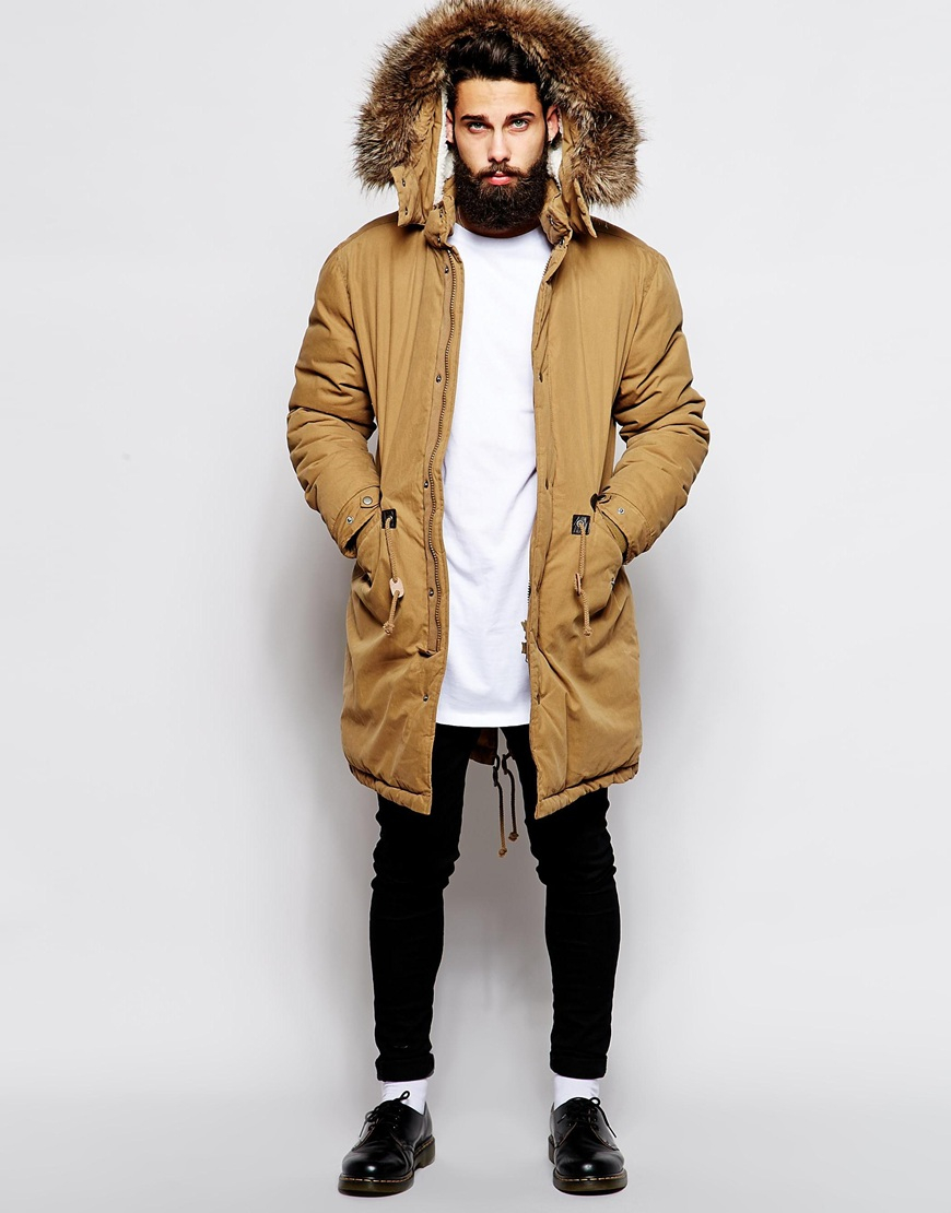 Lyst Asos Fishtail Parka With Thinsulate In Brown For Men