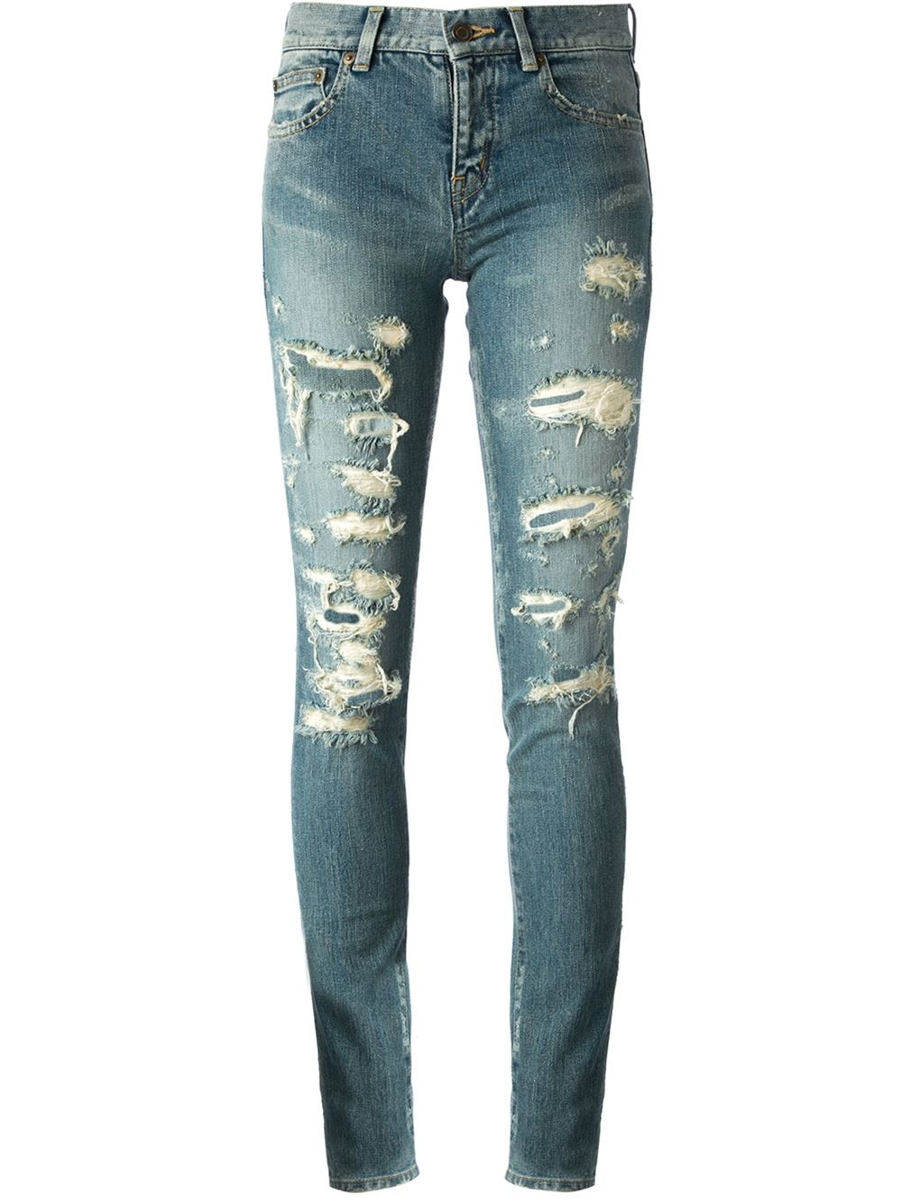 saint laurent distressed jeans in blue lyst. Black Bedroom Furniture Sets. Home Design Ideas