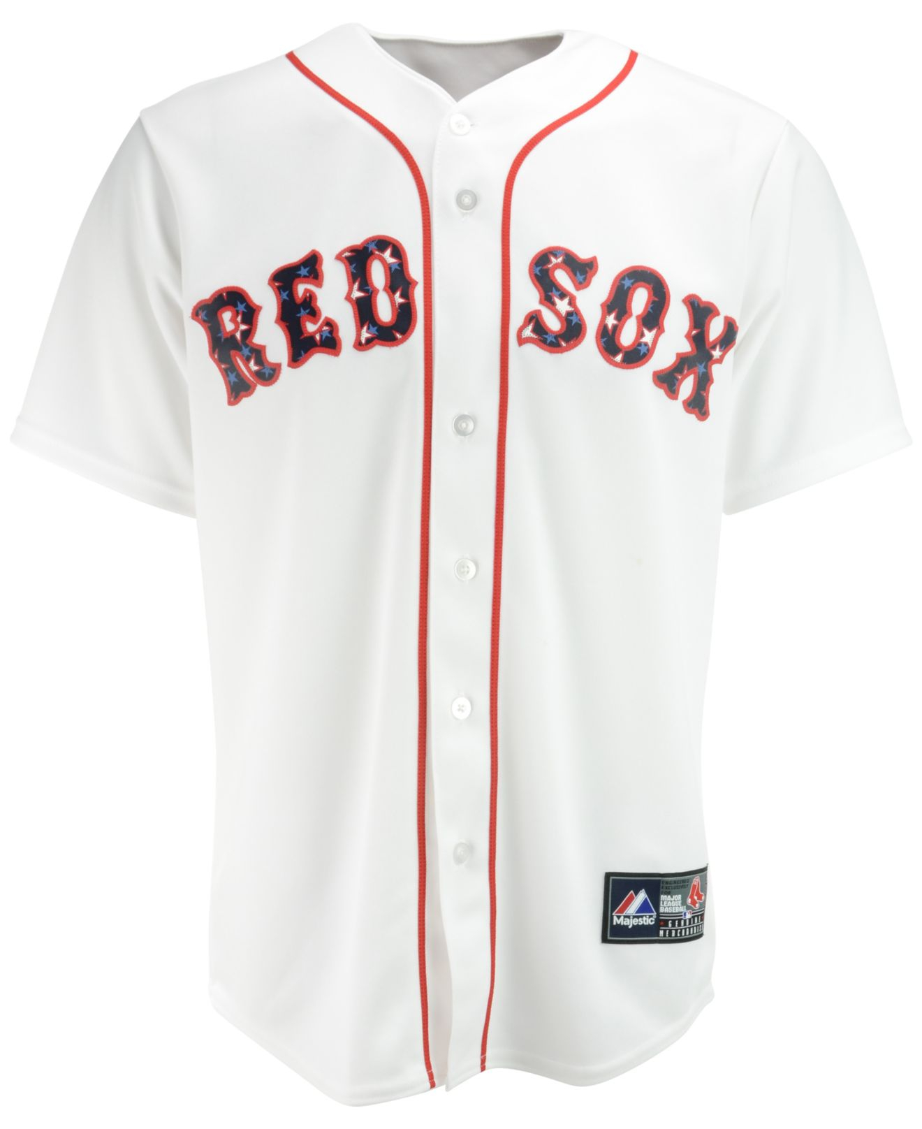 2ce1cc60b4c Majestic Men S Dustin Pedroia Boston Red Sox Stars   Stripes Replica ...