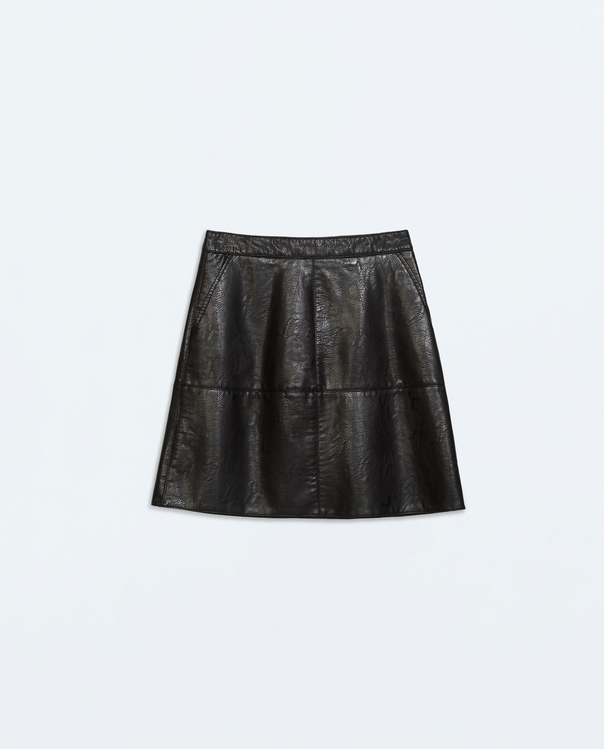 Zara A-Line Faux Leather Skirt in Black | Lyst