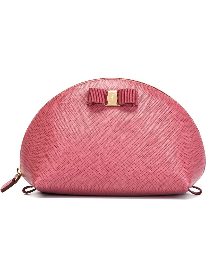 cd610edff5 Lyst - Ferragamo  Vara  Bow Makeup Case in Pink
