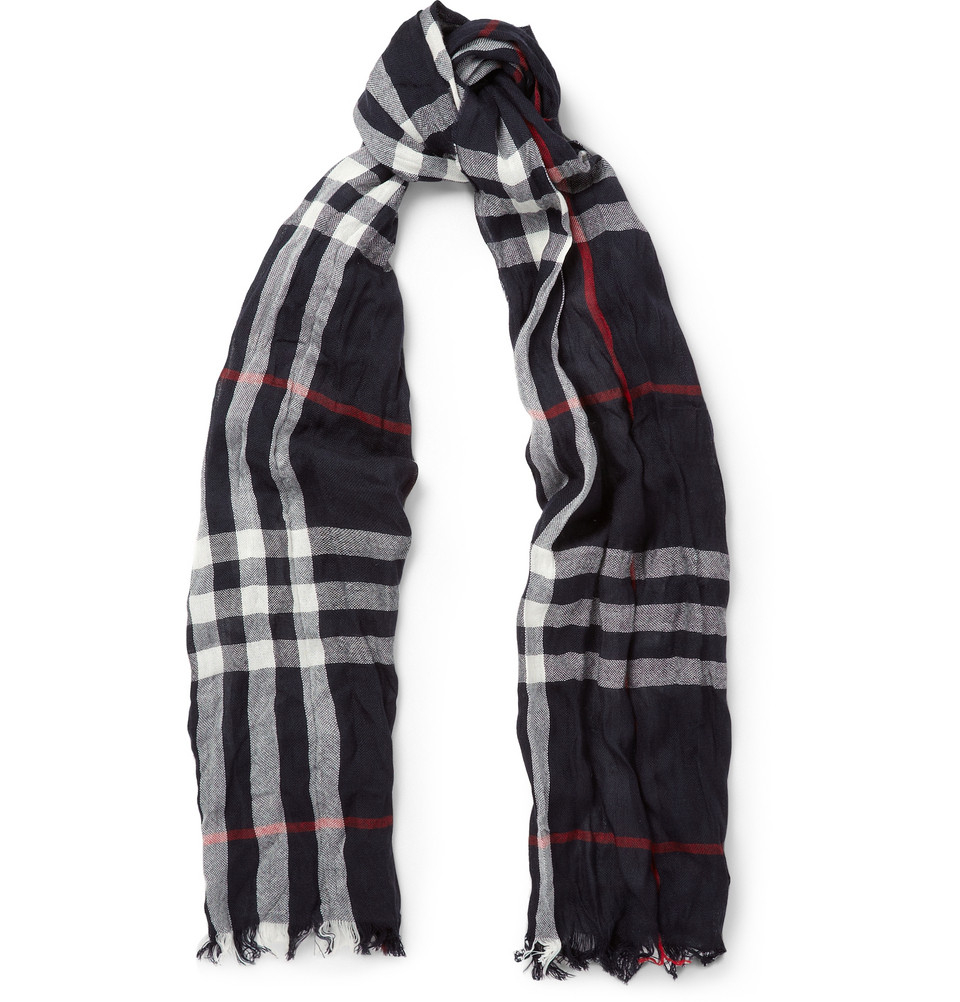 burberry check merino wool and lightweight scarf