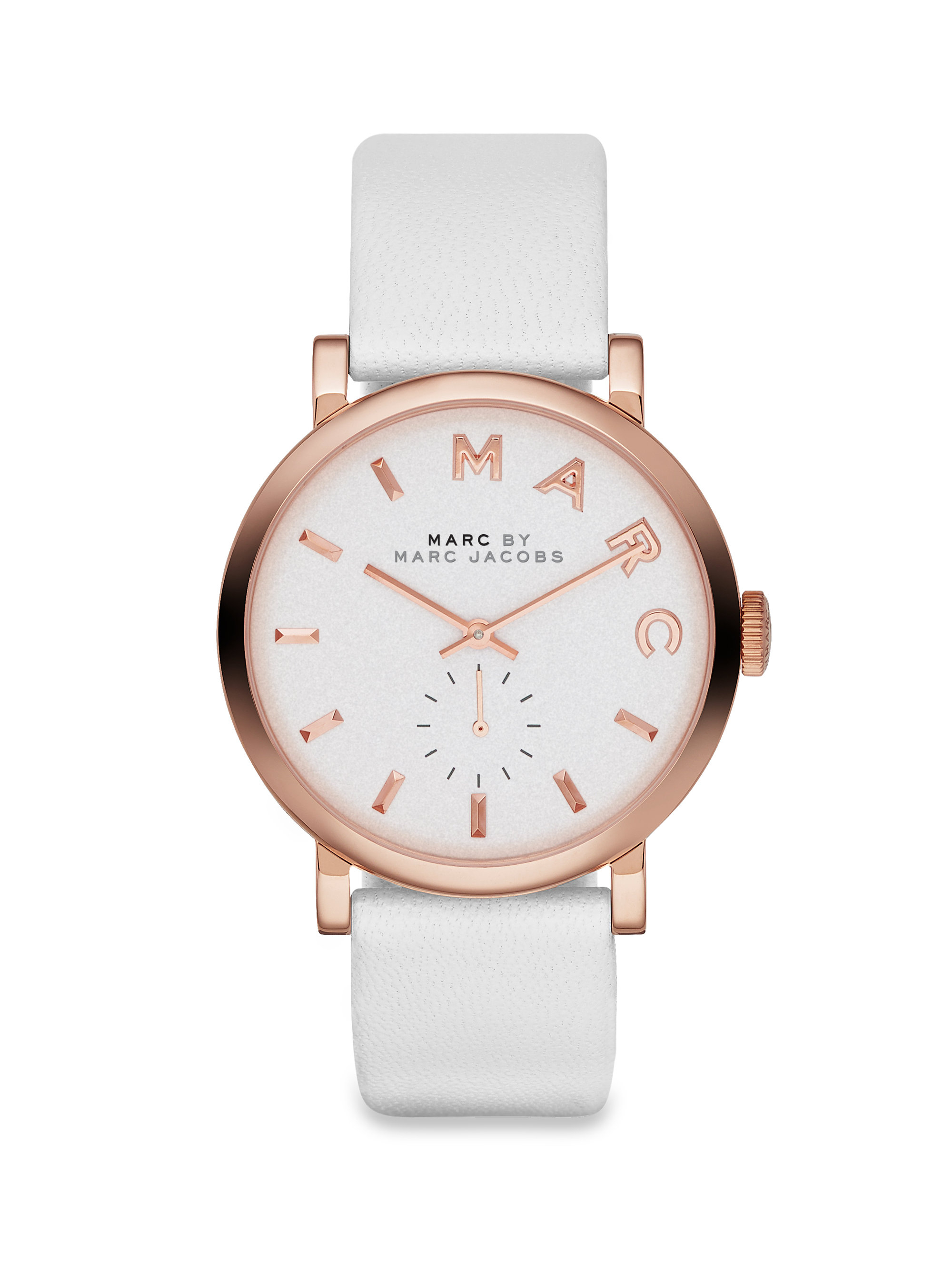 Lyst marc by marc jacobs baker rose goldtone stainless steel leather strap watch in pink for Leather strap watches
