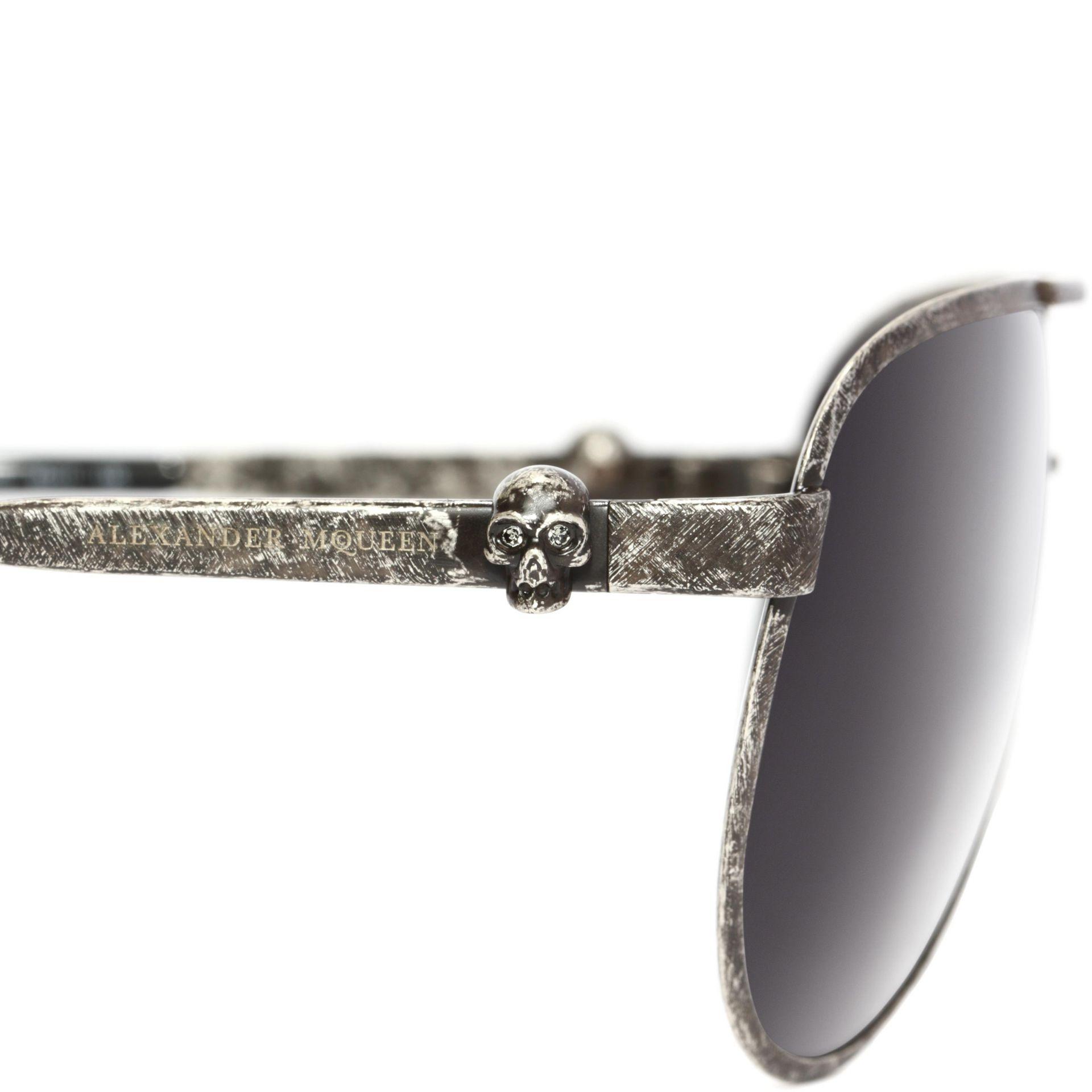 5938b56b59a Lyst - Alexander McQueen Metallic Skull Pilot Sunglasses in Gray for Men