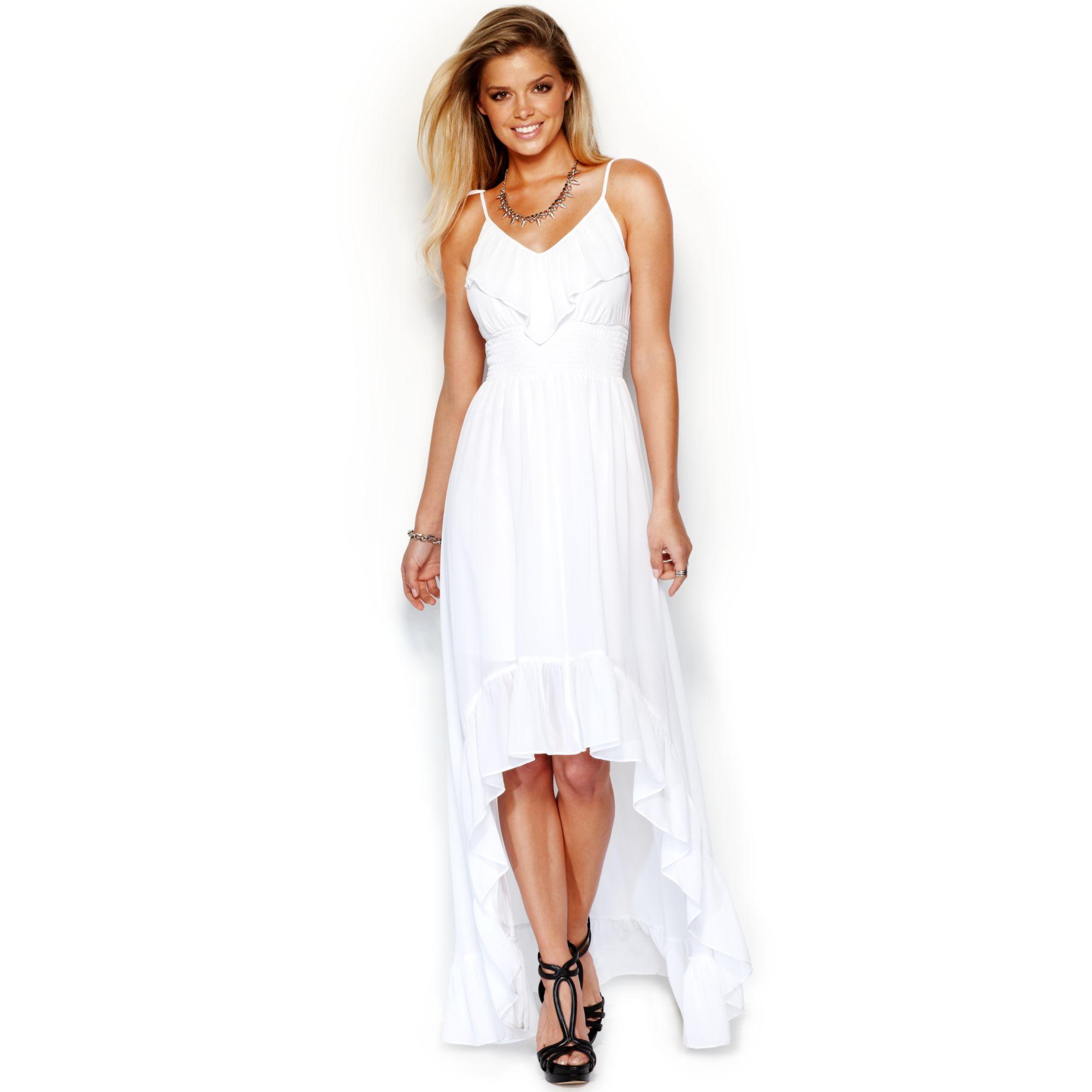 guess sleeveless ruffled highlow maxi dress in white true white