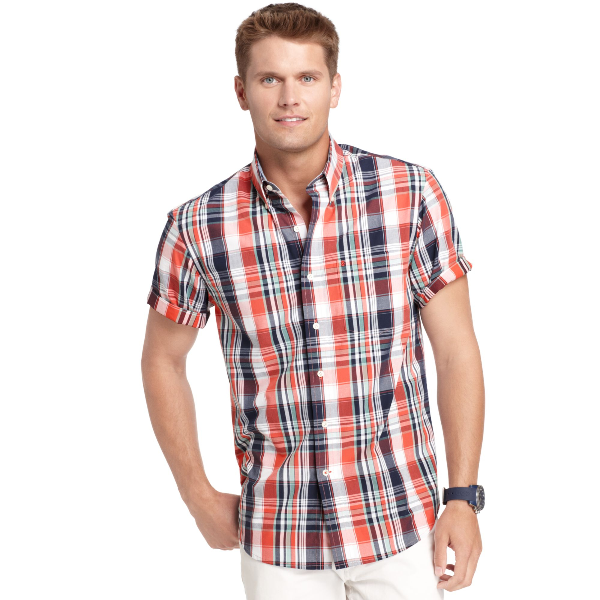 Izod big and tall short sleeve plaid shirt in red for men for Izod big and tall shirts