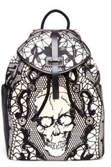 Alexander McQueen Lace Skull Printed Silk Satin Backpack