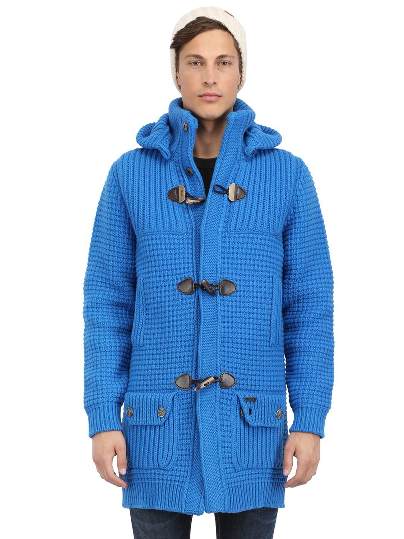 Bark Wool Blend Long Duffle Coat in Blue for Men | Lyst