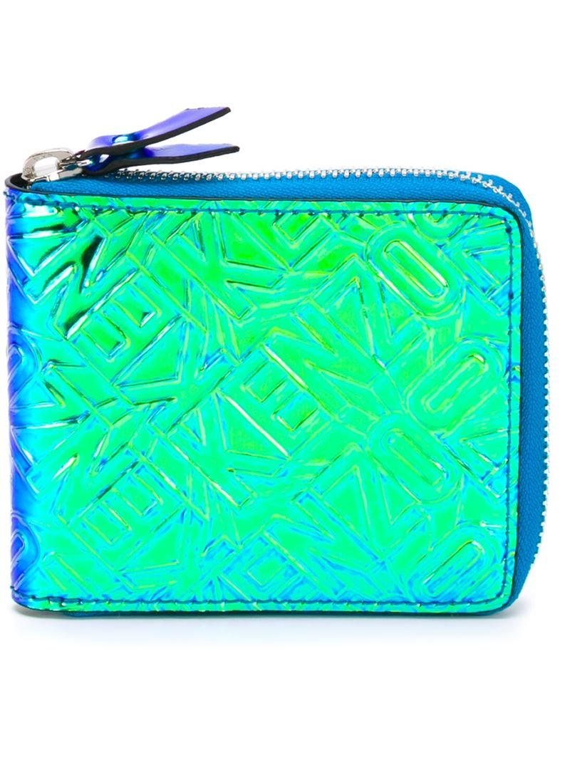 ebc81bf38 KENZO Textured Wallet in Blue - Lyst