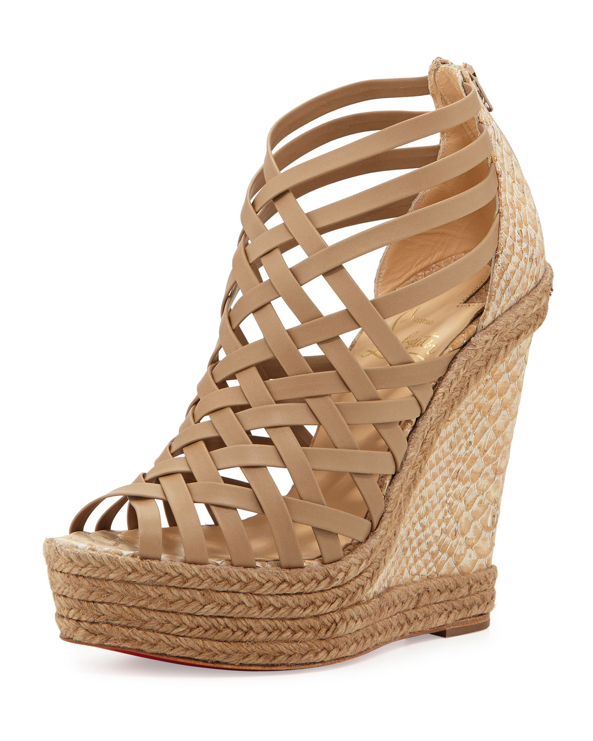 christian louboutin slide wedges Gold metallic canvas | cosmetics ...