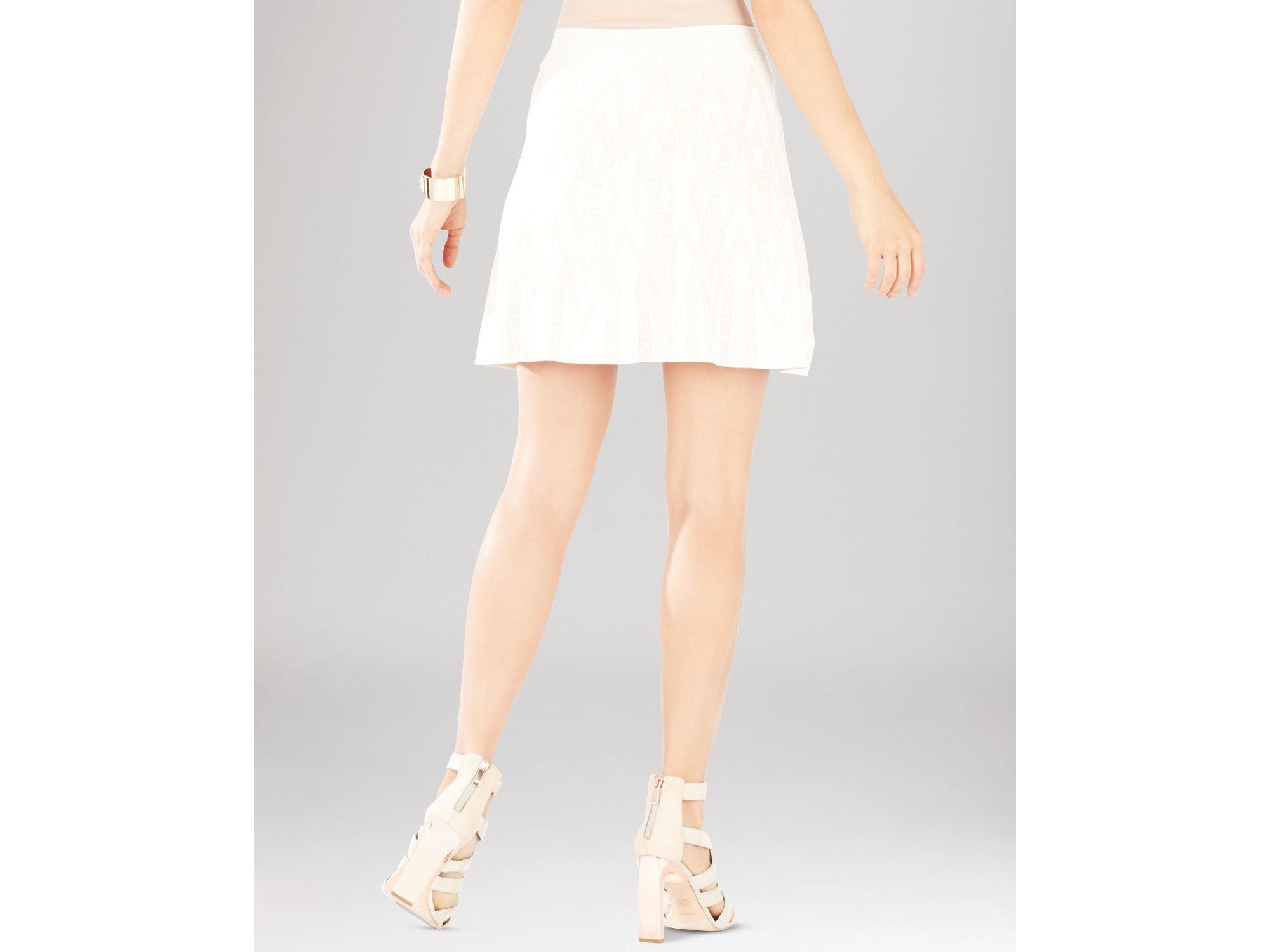 bcbgmaxazria queeny chevron jacquard a line skirt in white