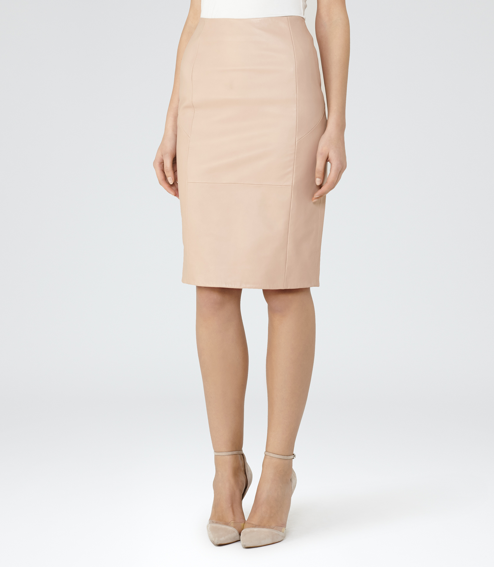 reiss essie leather pencil skirt in pink lyst