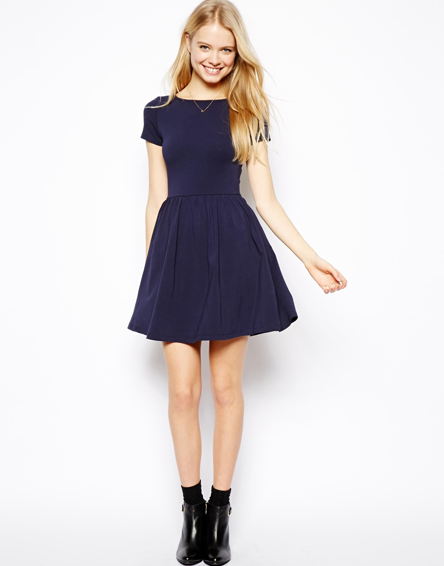aff6fe0ea74a Lyst - ASOS Skater Dress With Slash Neck And Short Sleeves in Blue