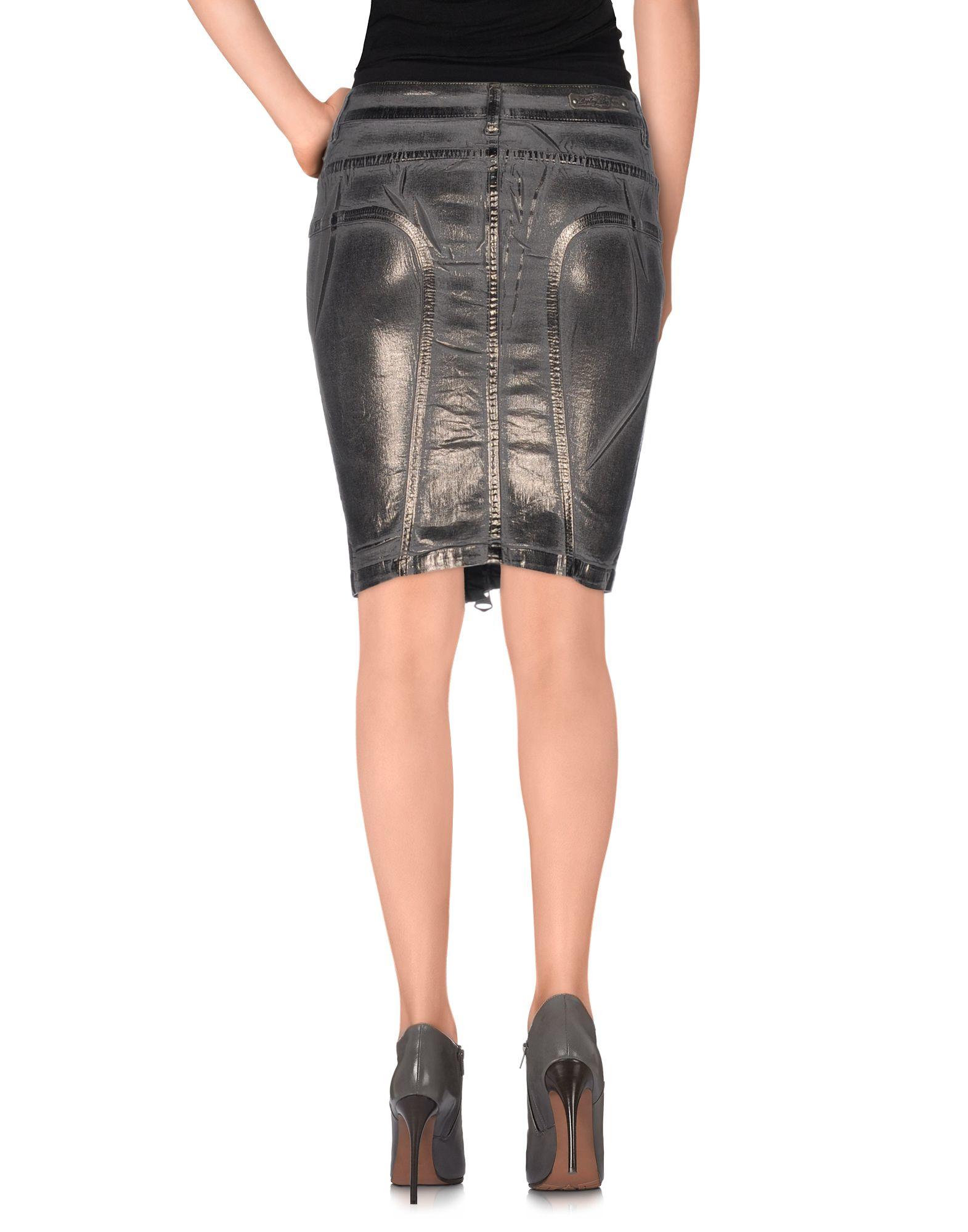 replay denim skirt in gray grey save 21 lyst