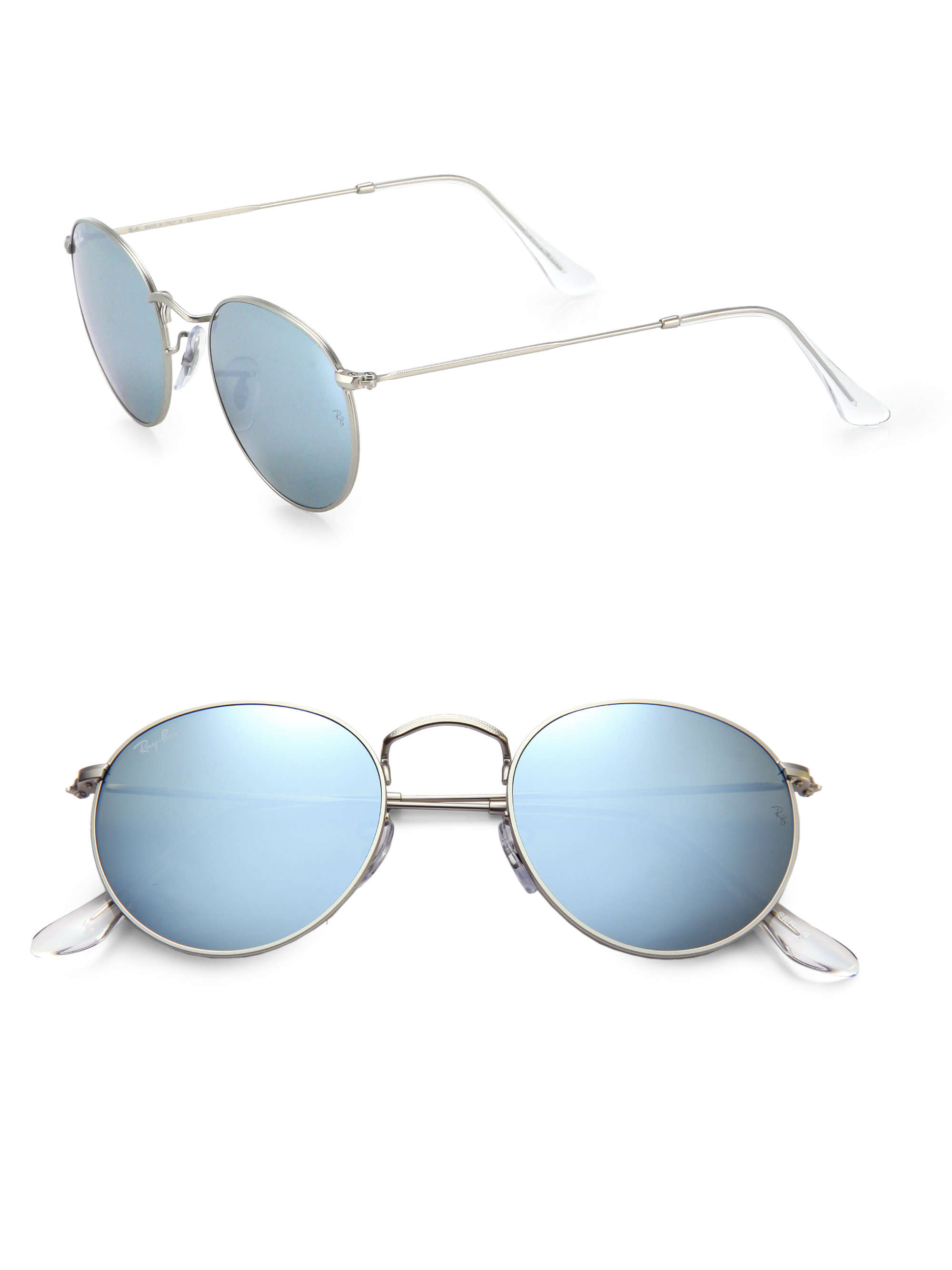 ray ban silver round metal sunglasses for men lyst. Black Bedroom Furniture Sets. Home Design Ideas