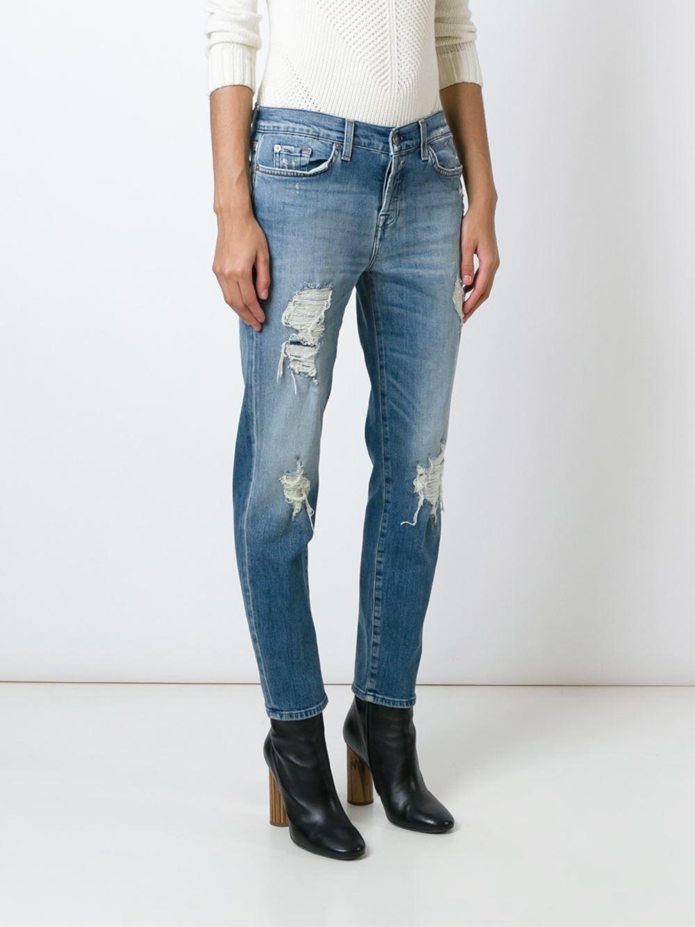 7 for all mankind 'josie' Tapered Boyfriend Jeans in Blue   Lyst