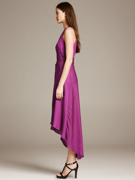 Banana Republic Br Monogram Belted Patio Dress In Purple