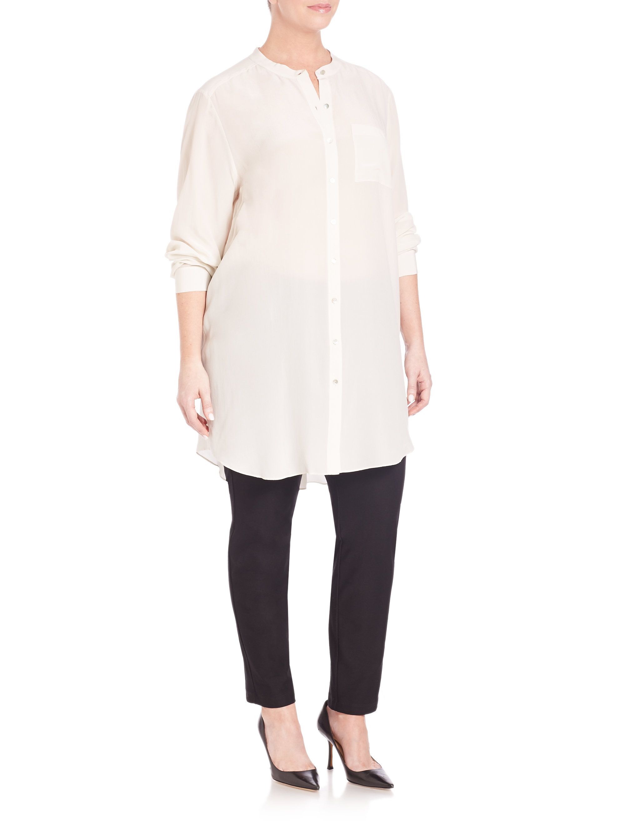 b6d59d8ad55ce Lyst - Eileen Fisher Silk Mandarin-collar Blouse in White