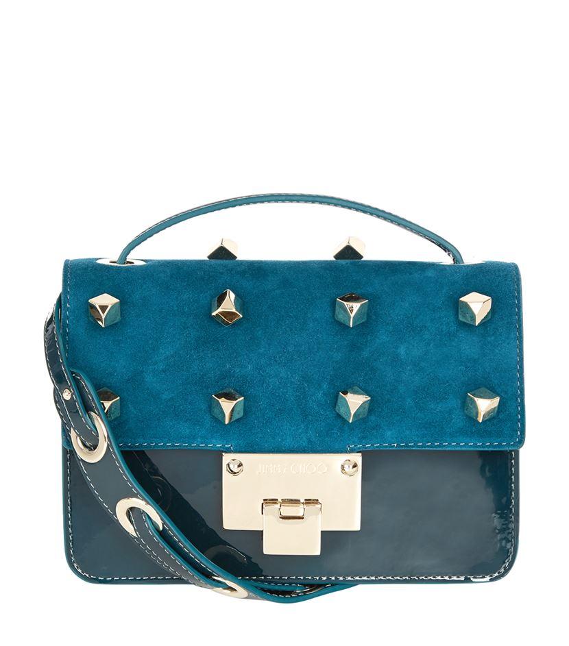 Jimmy choo Rebel Studded Crossbody Bag in Blue | Lyst