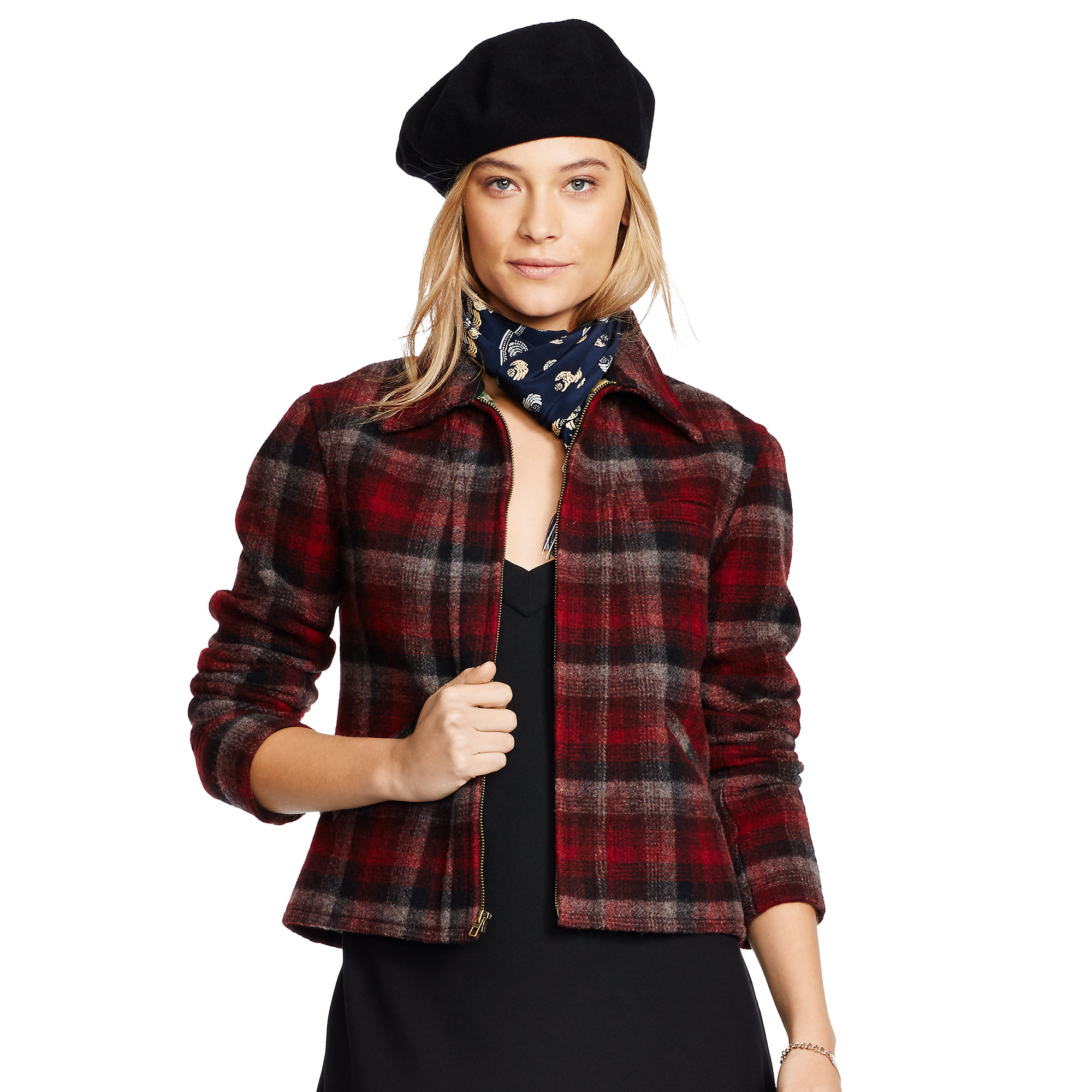Polo ralph lauren Plaid Wool-blend Jacket in Red | Lyst