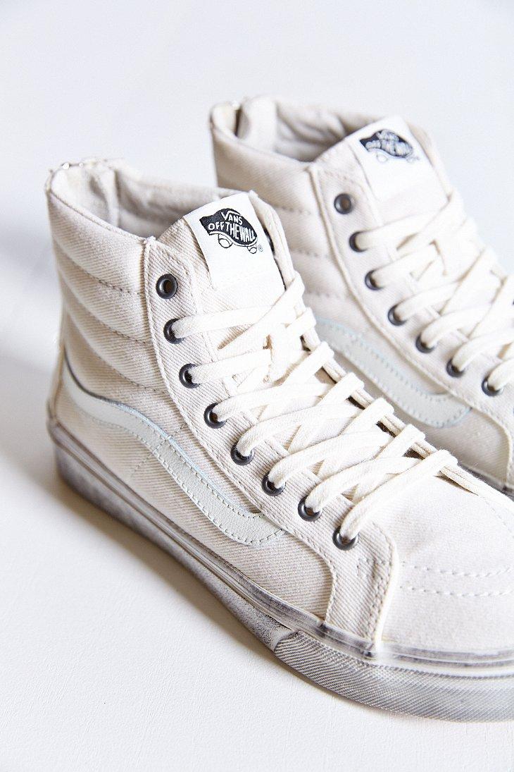 5b7d896f10 Lyst - Vans Sk8-hi Zip Overwash Slim Sneaker in White