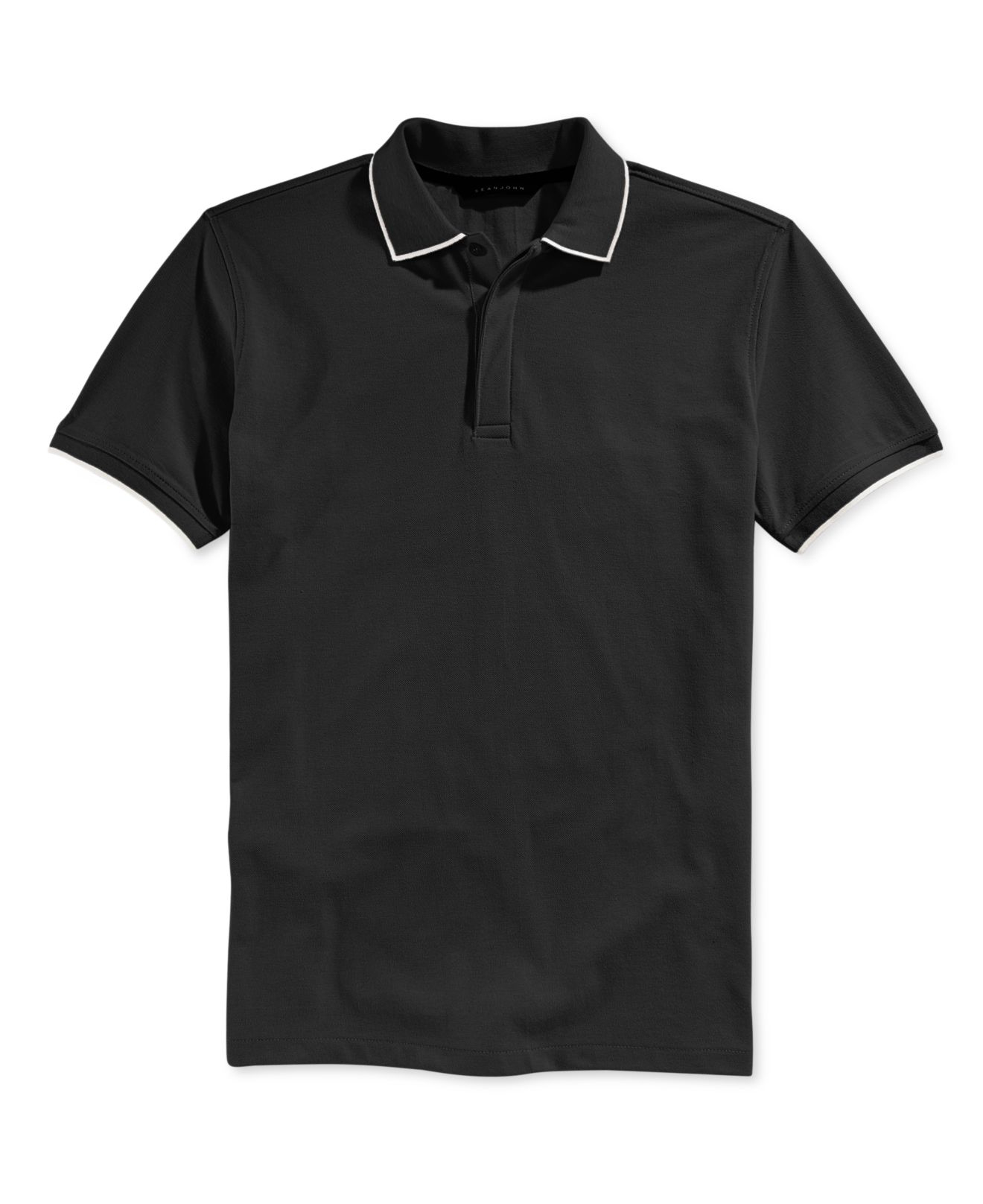 Lyst sean john men 39 s solid core polo in black for men for Sean john t shirts for mens