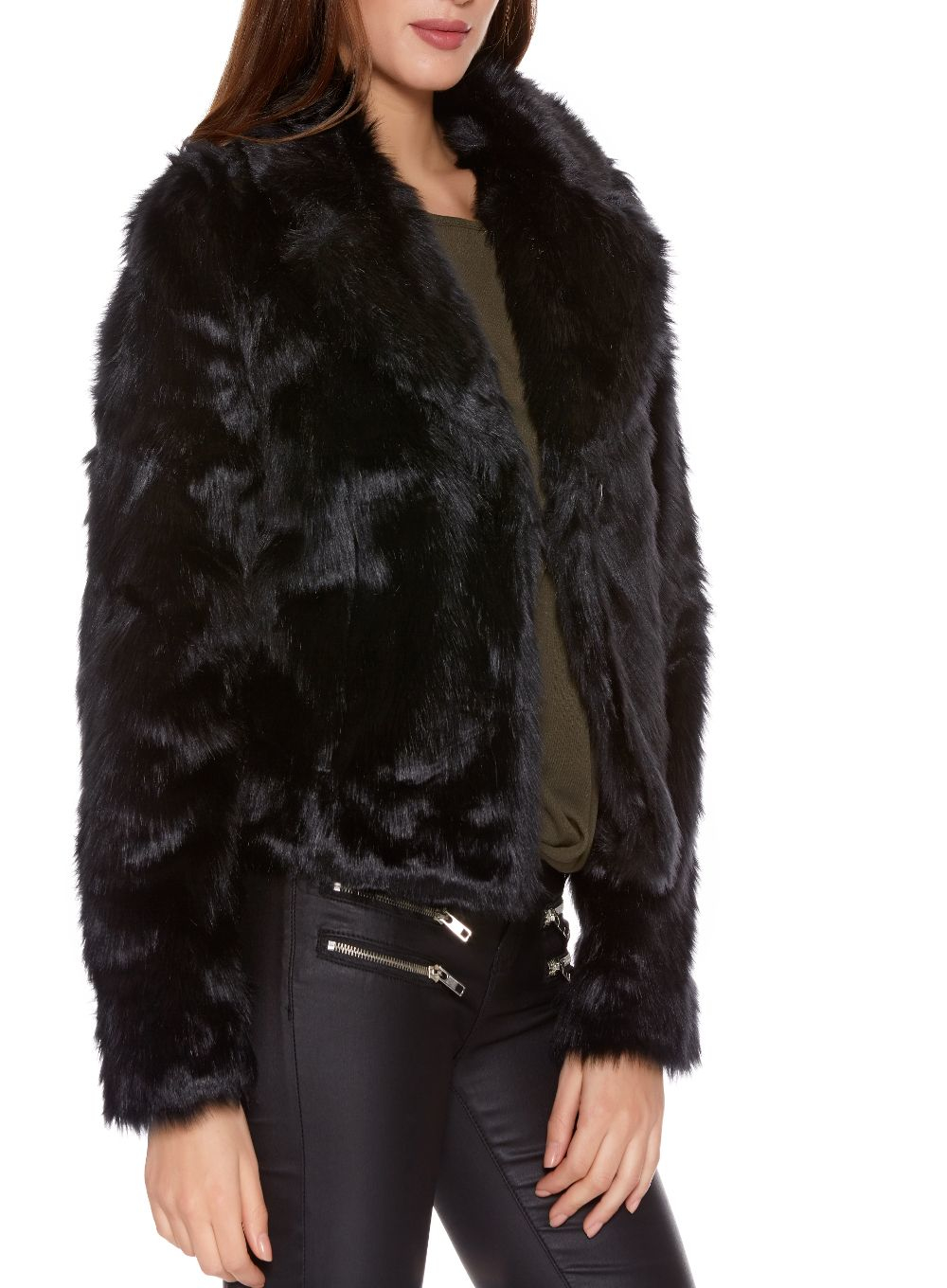 Quiz Black Faux Fur Short Jacket in Black | Lyst