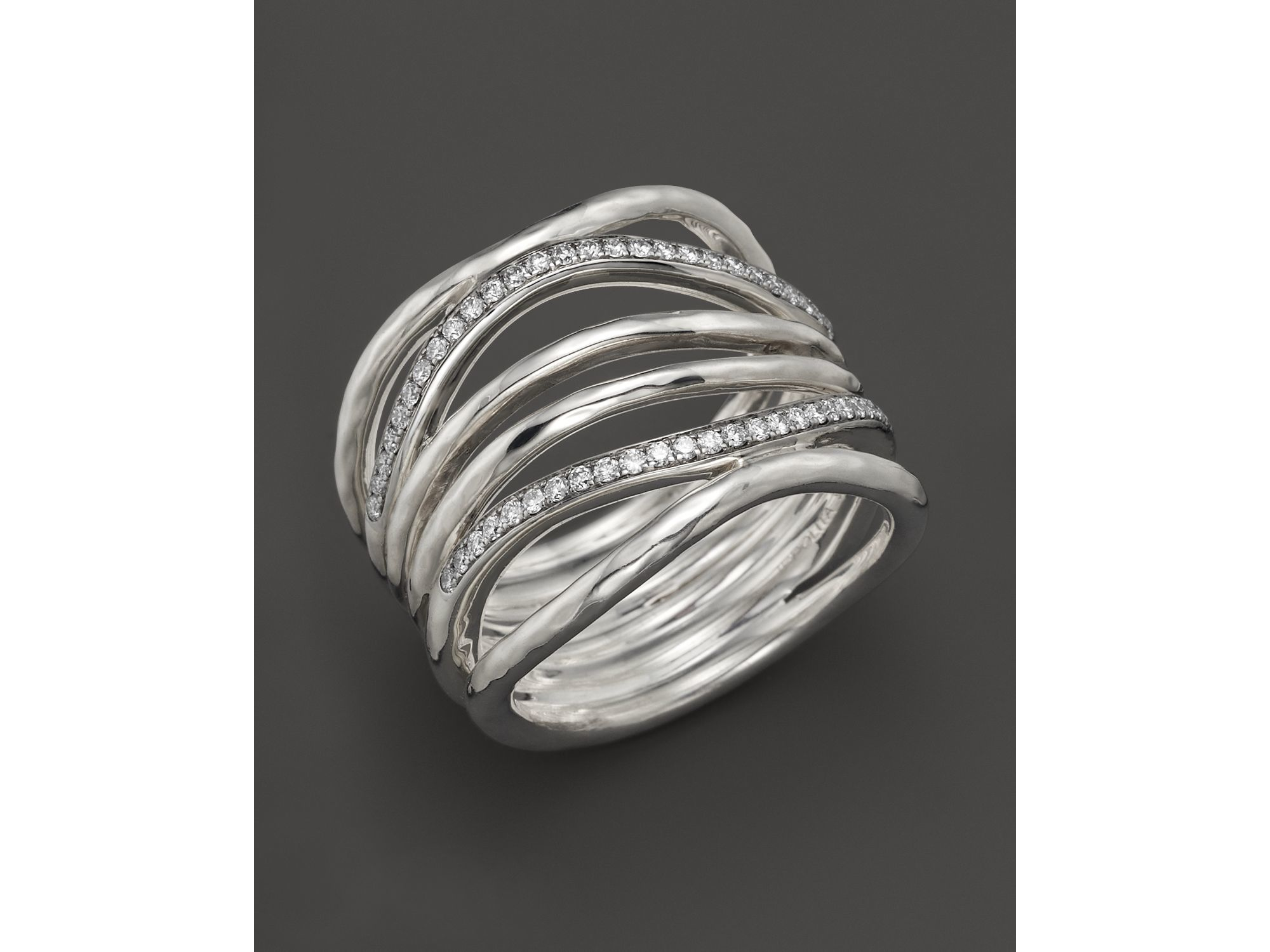 ippolita sterling silver multi band ring with diamonds