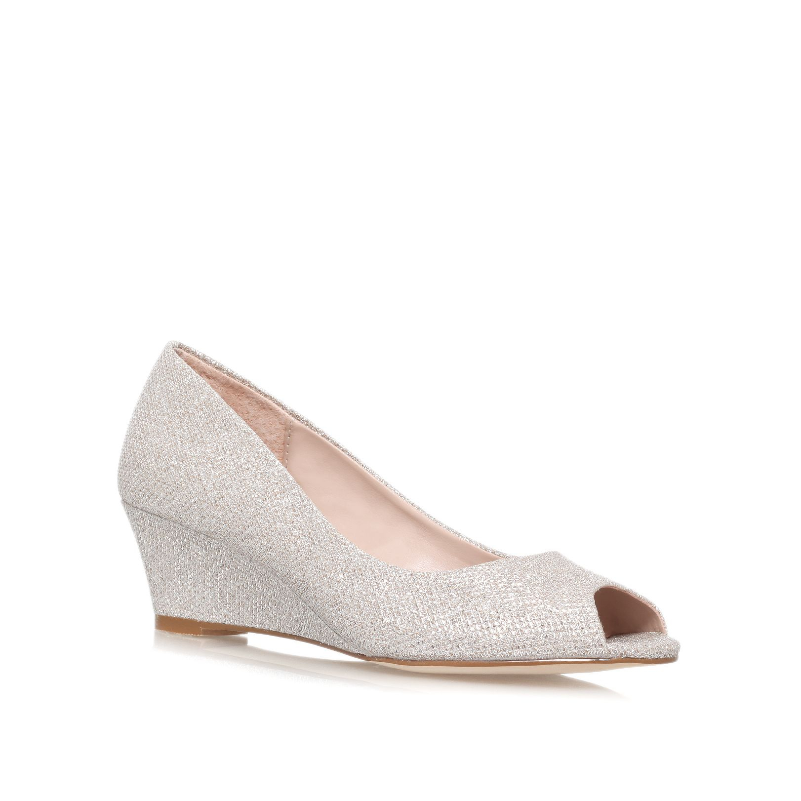 Silver Peep Toe Low Heel Shoe - Is Heel