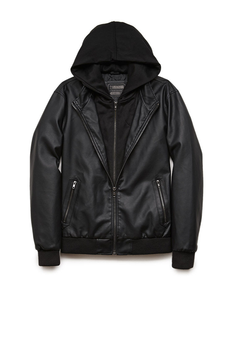 Mens faux leather hooded jacket