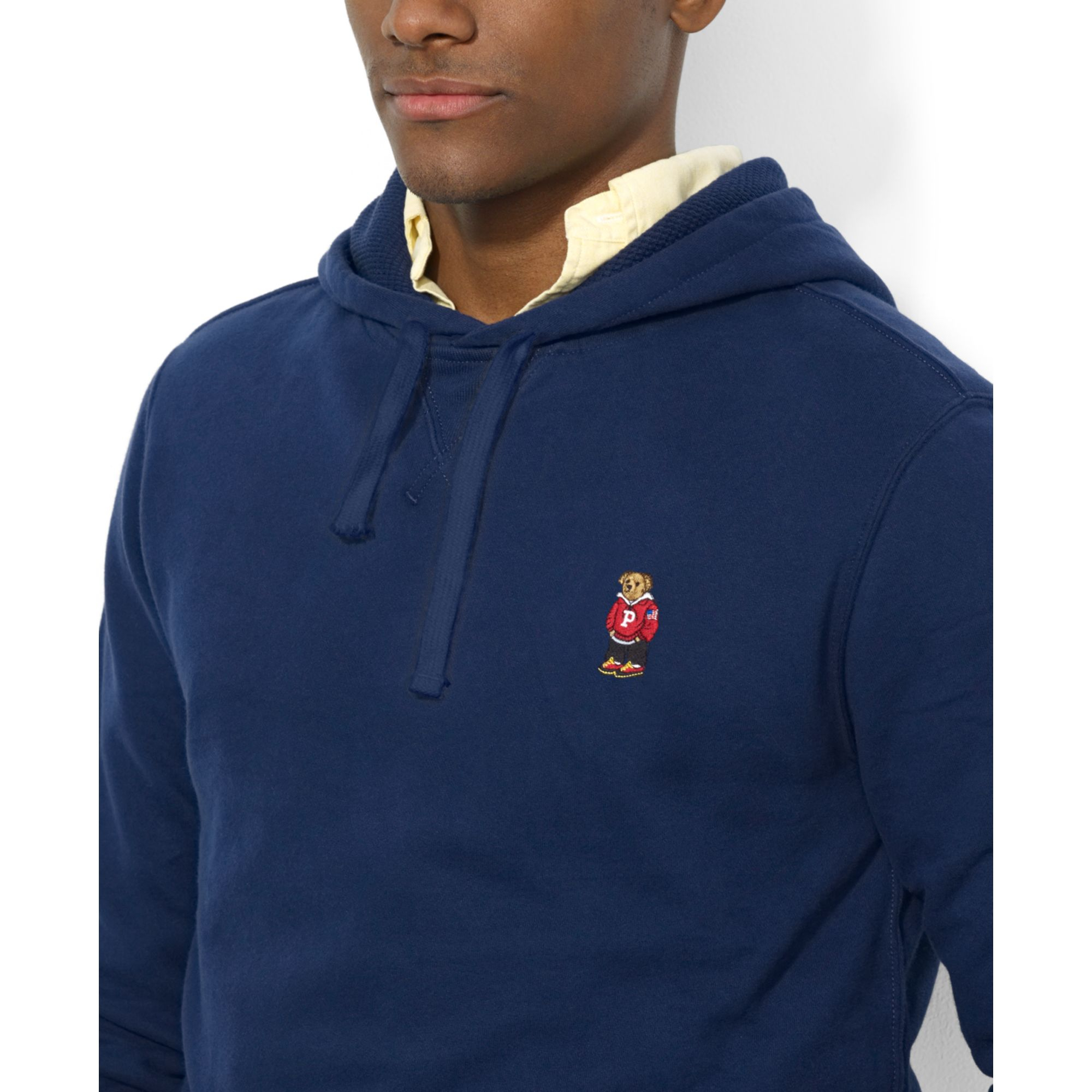 Ralph lauren Polo Bear Fleece Pullover Hoodie in Blue for Men | Lyst
