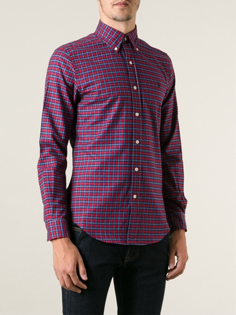 Polo ralph lauren Checked Button Down Shirt in Blue for Men | Lyst