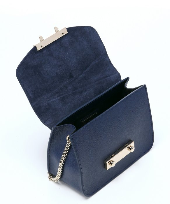 Furla Navy Leather 'julia' Mini Crossbody Bag in Blue | Lyst