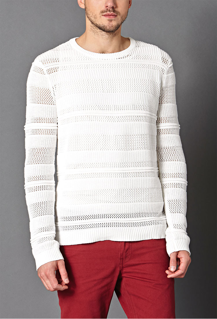 Forever 21 Open-knit Cotton Sweater in White for Men | Lyst