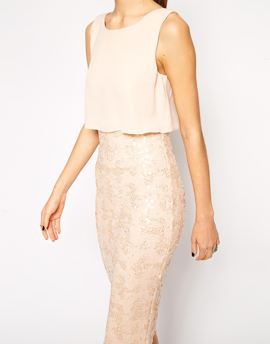 2862fc6a ASOS Chiffon Crop Top Midi Dress With Sequin Skirt in Natural - Lyst