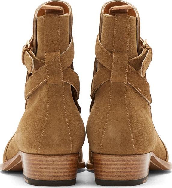 935ce5c3b09 Saint Laurent Camel Suede Wyatt Ankle Boots in Natural for Men - Lyst