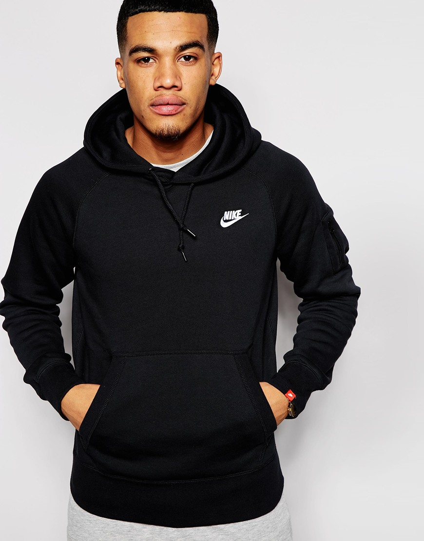 nike aw77 hoodie in black for men lyst. Black Bedroom Furniture Sets. Home Design Ideas