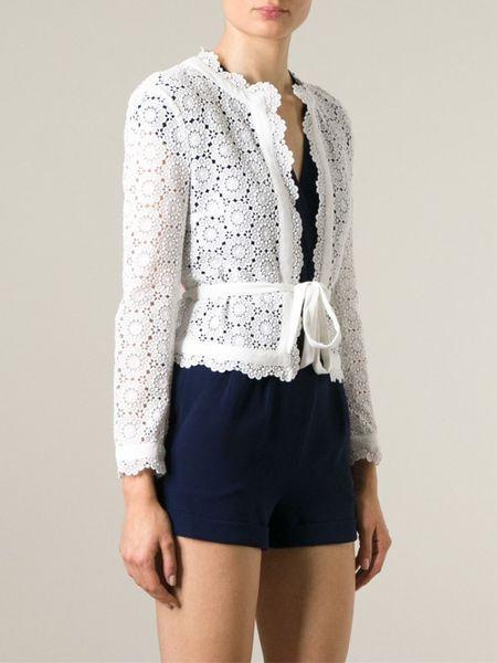 Diane Von Furstenberg Kristen Crochet Jacket in White