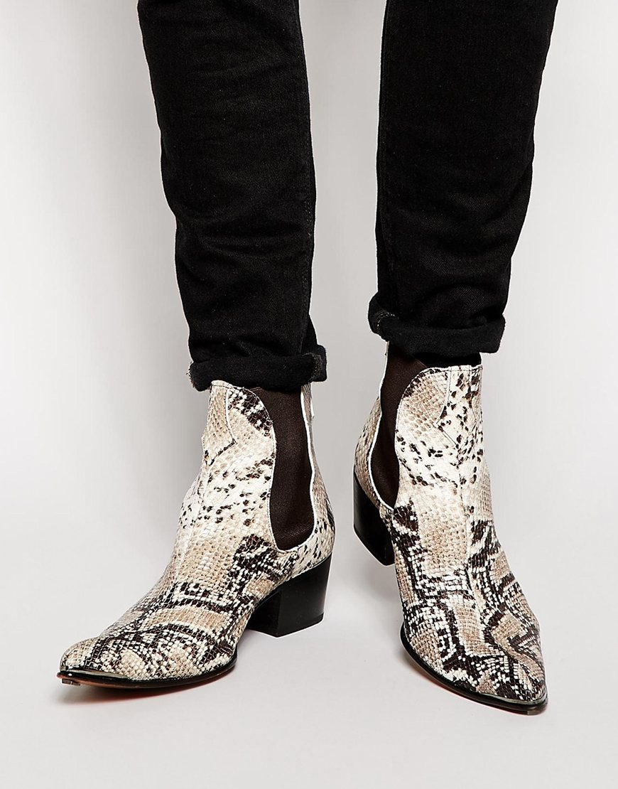 lyst jeffery west snake chelsea boots in natural for men. Black Bedroom Furniture Sets. Home Design Ideas