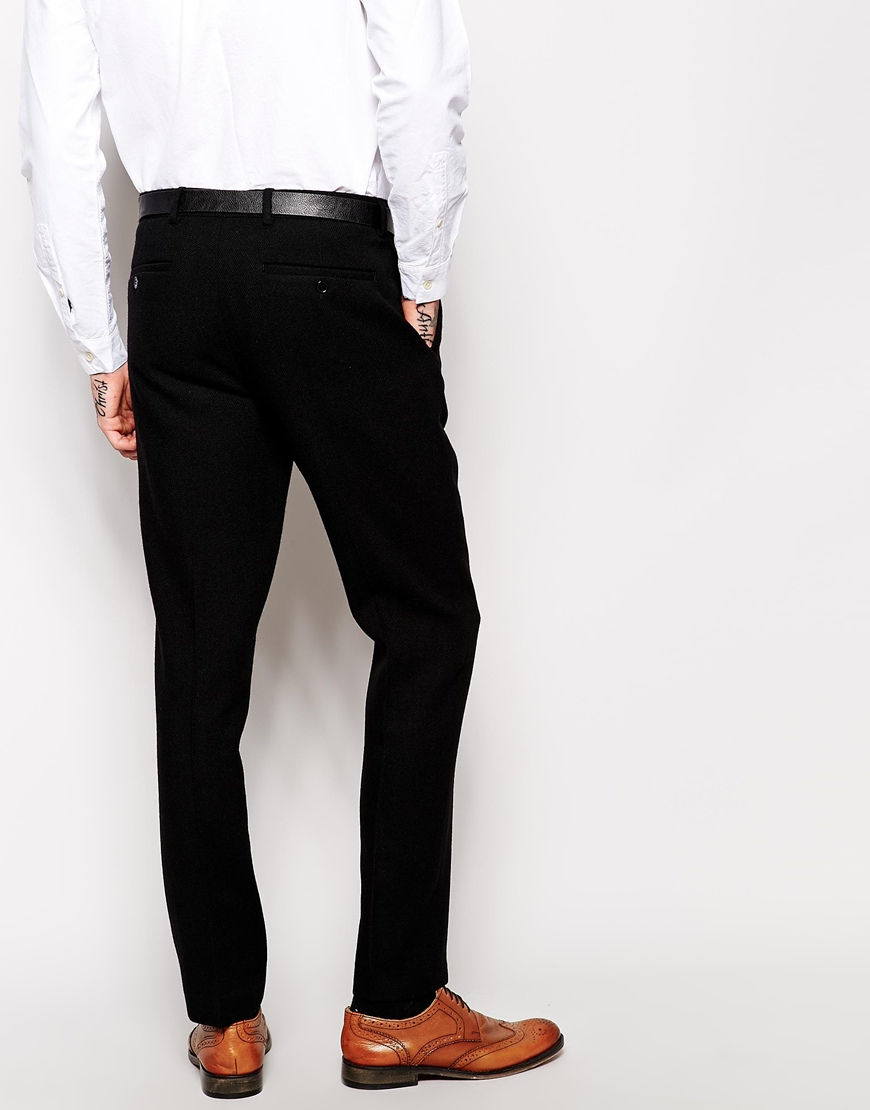 Asos Slim Fit Smart Trousers In 100% Wool in Black for Men | Lyst