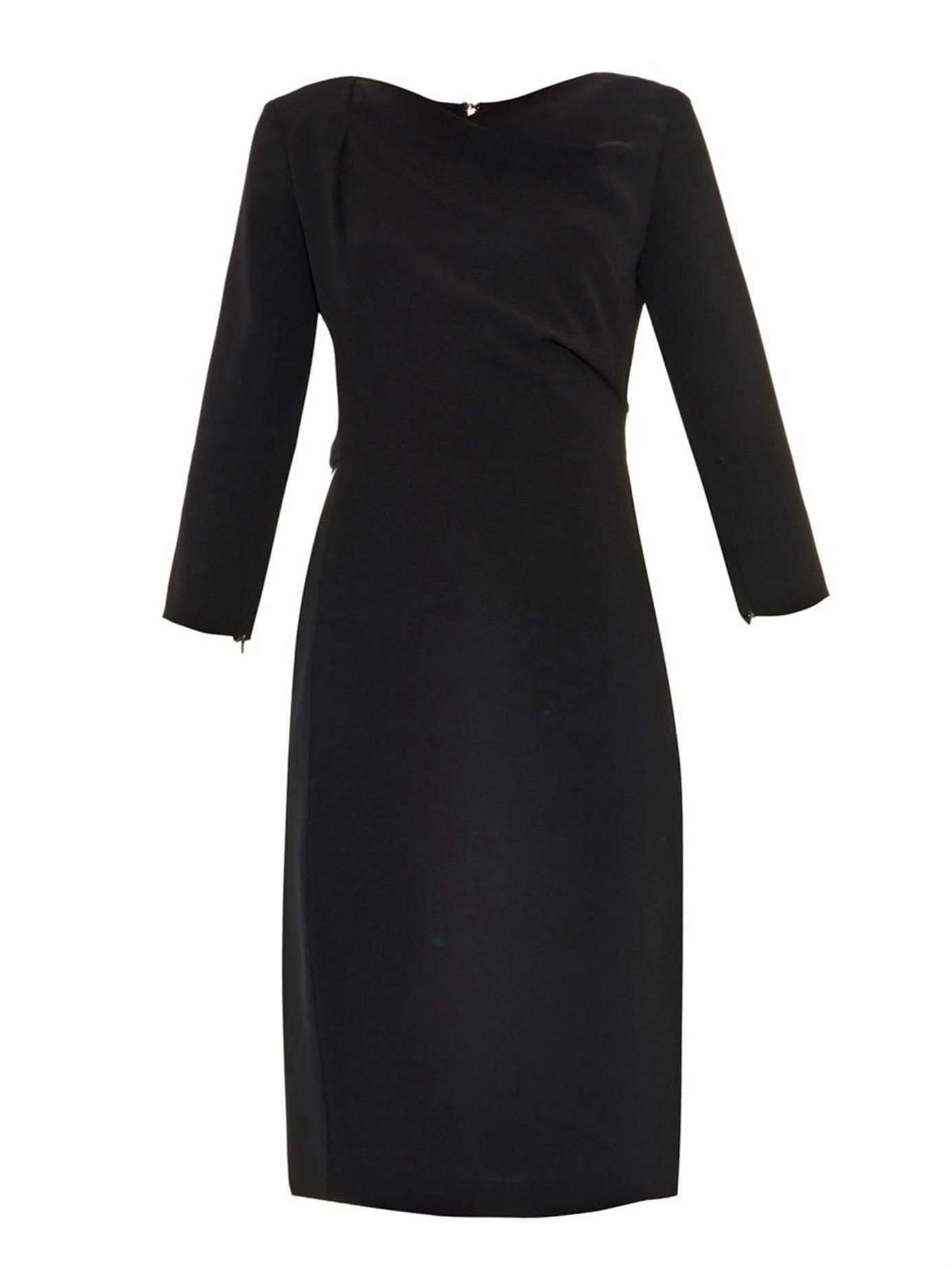 Max mara Lume Crepe Dress in Black - Lyst