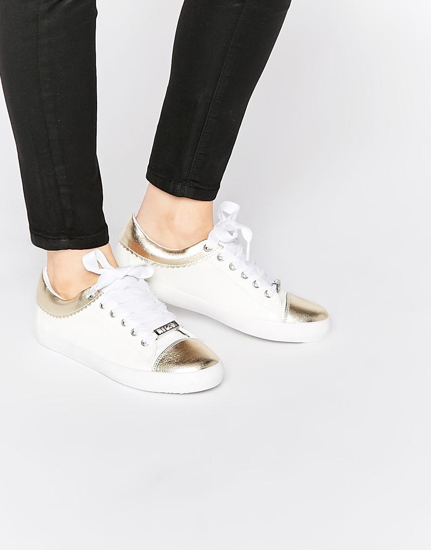 Lyst - Lipsy Alissa White   Gold Sneaker Trainers - White in Metallic d64d33969df4
